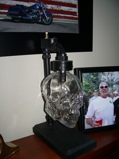 Skull Head vodka bottle night light, Try it with a flicker bulb.