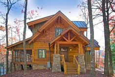 Rustic House Plans, Cottage House Plans, New House Plans, Cottage Homes, Log Cabin House Plans, Modern Mountain Home, Mountain House Plans, Timber Frame Homes, Timber House