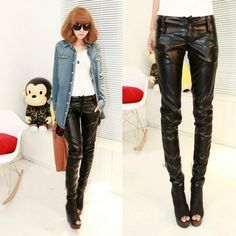 New 2013 Fashion European And American Style High Waist Leather Pants, Plus Size Loose Leather Pants, Leather Jeans
