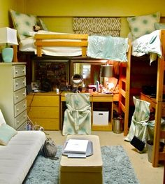 Tucking furniture (such as dressers and desks that are already in the dorm room prior to move-in day) is a great way to make use of the space under lofted beds, especially in small dorm rooms.
