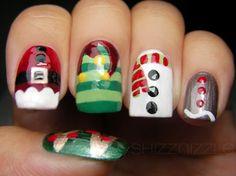 Diseños navideños para uñas