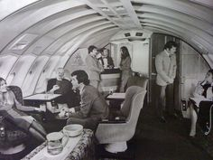 Bryant's Cocktail Lounge in the air?? Now, there's an idea! (Cocktail lounge in a Qantas 747, 1970s)