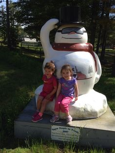 We found a snowman in the summer !!! Mt cranmore