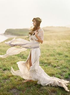 Hippie Style. This would actually be really pretty as a simple, flowy, hippie style wedding dress. She even has a leaf crown.