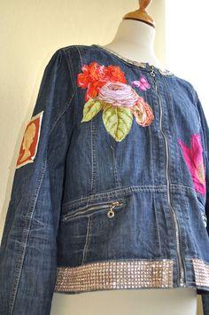 Denim jacket, customized, revamped JoeLesBiscottos (Size romantic chic, with Jeans, Chic, Denim, Hair Styles, Jackets, Romantic, Etsy, Fashion, Jean Jacket Vest