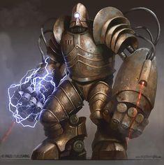Juggernaut Golem by yigitkoroglu steampunk robot mech mecha armor clothes clothing fashion player character npc Pirate Steampunk, Steampunk Kunst, Steampunk Armor, Steampunk Diy, Arte Robot, Robot Art, Arte Sci Fi, Sci Fi Art, World Of Warcraft