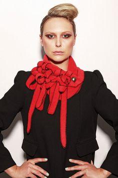 Minstral  rouge/noir foulard écharpe en polaire par Rewclothing