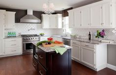 contemporary kitchen White Kitchen, Stained Island with Bianco Antico Granite, Cork Floors
