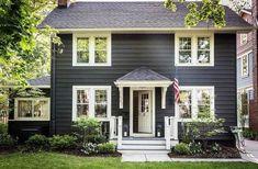 Top 50 Best Exterior House Paint Ideas - Color Designs Exterior Colonial, Design Exterior, Modern Exterior, Window Shutters Exterior, House Shutters, Wall Exterior, Small Shutters, Gray Exterior, Exterior Paint Colors For House