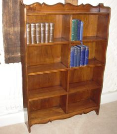 Vintage Chestnut Bookcase-Vintage chestnut open bookcase with nicely shaped bevelled top.