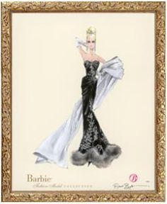 "This elegant signed and numbered lithograph by Robert Best is part of the Barbie fashion model collection, depicting Barbie in elegant haute couture wear in a gold leaf frame. It measures 16"" X 20"" an"