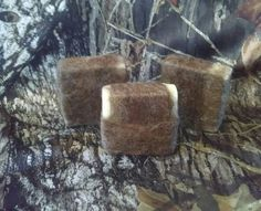 Dirt scented hunting soap that's felted https://www.etsy.com/listing/231586427/dirt-scented-hunting-soap-felted