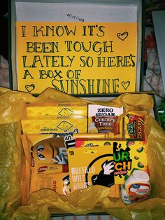 Just for Eli! Box of sunshine gift because he's been sick! Make this for your . Just for Eli! Box of sunshine gift because he's been sick! Make this for your loved one❤️ bir Diy Best Friend Gifts, Cute Gifts For Friends, Birthday Presents For Friends, Bestie Gifts, Bf Gifts, Cute Birthday Gift, Birthday Gift Baskets, Diy Gifts For Him, Happy Birthday Gifts
