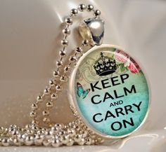 Keep Calm and Carry On in Blue Pendant