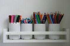 DIY Upcycling - BEKVÄM spice rack [Ikea Hackers + weitere Ideen] - Home - Kinderzimmer Ideen Ikea Bekvam, Pencil Organizer, Diy Upcycling, Ikea Hackers, Small Shelves, Blog Deco, Craft Storage, Desk Storage, Kitchen Storage