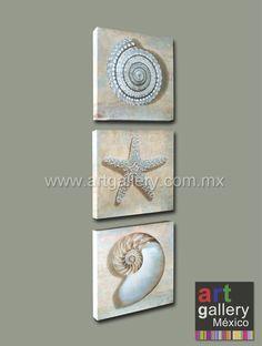 Juego de 3 obras en lienzo (canvas) de 30x30 cm cada una. Ideal para decoración de baño, playa o marina ! Disponibles en otros tamaños.  Marinas / conchas / caracoles / decoración / interiores / cuadros / arte