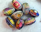 3 Rustic Rainbow  Artisan Barrel Beads - Handmade from Polymer Clay