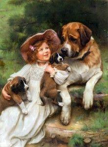 St Bernard and her pups