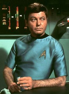 """DeForest Kelley was an American actor, screenwriter and singer known for his iconic role as Dr. """"Bones"""" McCoy of the USS Enterprise in the TV and film series Star Trek. Kelley died at age 79 of stomach cancer in RIP ~❤~ Star Trek 1966, Star Trek Tv, Star Wars, Deep Space Nine, Dr Leonards, Leonard Mccoy, Star Trek Original Series, Enterprise Ncc 1701, Star Trek Universe"""
