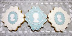 cameo in blue and white cookie decoration, would be perfect for a victorian themed tea
