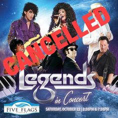 Legends in Concert has been CANCELLED. Ticket holders will receive a full refund at original point of purchase. Please call the #FiveFlagsCenter Box Office at 563-589-4258 with any questions.