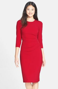Free shipping and returns on Maggy London Gathered Crepe Sheath Dress at Nordstrom.com. Deft ruching slims the waist of a smooth crepe sheath dress cast in a lovely red hue.