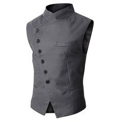 2015 New Arrival Fashion-designed Men's Slim Fit Vest Fashion Suit Vest Simple Business Vest Black/Gray Size:M-XXL Business Casual Jacket, Casual Blazer, Men Casual, Men Blazer, Dress Casual, Gilet Costume, Pantalon Costume, Casual Steampunk, Steampunk Jacket