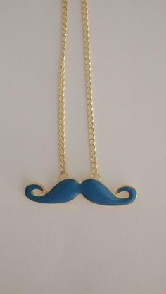 Blue mustache necklace by Ada