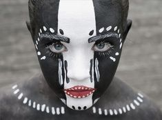 Black & White Striped Tribal FacePaint, Love the Blue / Grey - ish Eyes Contrast Look! Magnificent!