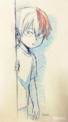 Todoroki Shouto (My Hero Academia), Anime Drawings Sketches, Cool Art Drawings, Anime Sketch, Anime Character Drawing, Comic Drawing, My Hero Academia Manga, Boku No Hero Academy, Animes Wallpapers, Anime Characters