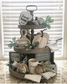 Vintage Farmhouse Decor We love the way Dana styled our Charlotte 3 tier tray! It looks soooooo pretty filled with fall decor - and those… - Country Farmhouse Decor, Farmhouse Style Kitchen, Vintage Farmhouse, Modern Farmhouse, Decorating Coffee Tables, Pumpkin Decorating, Coffee Table Tray Decor, Fall Home Decor, Autumn Home