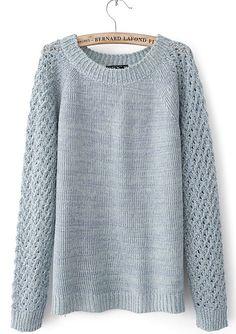 Light Blue Raglan Sleeve Waffle Open Knit Back Sweater