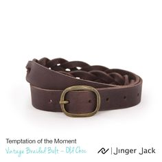 Temptation of the Moment. Jinger Jack VINTAGE BRAIDED BELT in Old Choc! ‪#NiceThingsOnEarth #UniversalEleganceDESIGNEDinCapeTown #Leather #LeatherBelts #Style #Vintage