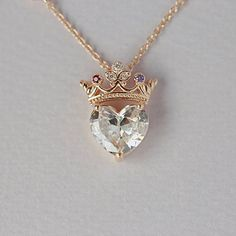 Crown heart necklace queen necklace pendant necklace sterling silver necklace statement necklace jewelry gift for queen gift for her Accessoires Cute Jewelry, Jewelry Gifts, Jewelery, Jewelry Accessories, Jewelry Necklaces, Jewelry Design, Diamond Necklaces, Heart Jewelry, Jewelry Bracelets