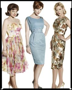 Peggy Olson, Joan Holloway, and Betty Draper characters on Mad Men.