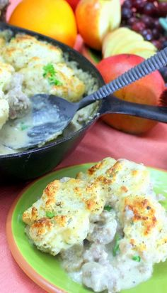 Inspired By eRecipeCards: Buttermilk Biscuits and Sausage Gravy - One Skillet Meal - 52 Breakfast Ideas