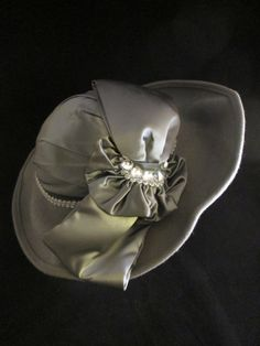 Ladies Gray 100% Wool Wide Rim Hat with Satin Bow from FOUNDbyBRENDA!