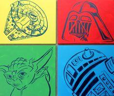 colorful star wars art . 4  16x20 canvases . darth by sincerelyYOU, $98.00 Star Wars Crafts, Star Wars Art, Star Wars Bedroom, Star Wars Painting, Darth Vader, Star Wars Birthday, Disney Art, Just In Case, Pop Art