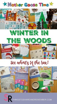 Winter in the Woods is my favorite winter preschool theme from Mother Goose Time! Come see what's in the box for this cold weather theme. Preschool At Home, Preschool Activities, Preschool Curriculum, Homeschool, Goose Craft, Mother Goose Time, Santas Workshop, Creative Teaching, Forest Animals