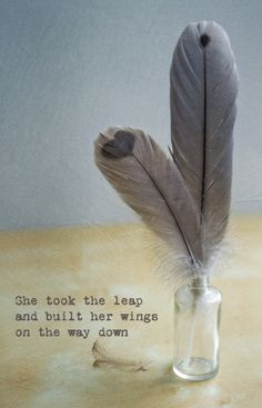 She took the leap and built her wings on the way down. Love this quote. A couple of feathers that we found at Auburn Botanical garden. They are from Cape Barren Geese.The feathers that are in the middle of their back have markings on them that look like hearts.