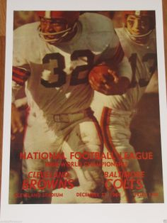 Cleveland Browns 1964 NFL Championship Game Poster Baltimore Colts - Jim Brown