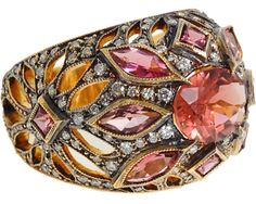 Cathy Waterman Jewelry Ring Tourmaline Diamond Gold Pink Orange