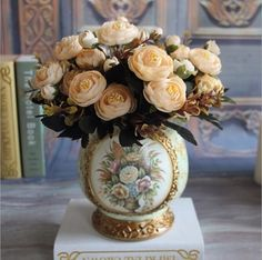GNW FL-RS28-6-4CM-C Wedding Decoration Flower Artificial champagne Rose short stem for sale