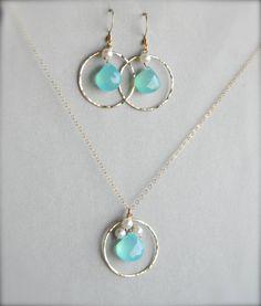 SET  Aqua Blue Chalcedony Hoop Earrings and by pennyloujewlery, $65.00