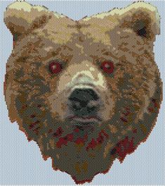 Peyote Stitch Pattern for Grizzly Bear on Etsy, $10.00