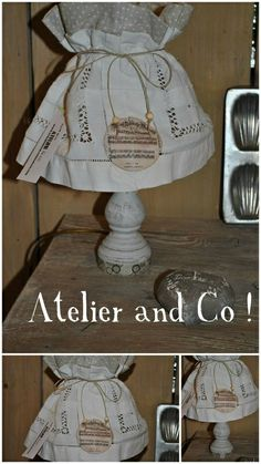 lampe esprit shabby en linge ancien à vendre dans atelierdecab.canalblog.com