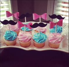 Best Baby Shower Ideas For Girls Food Babyshower Gender Reveal Ideas Gender Reveal Food, Gender Reveal Cupcakes, Gender Reveal Decorations, Baby Gender Reveal Party, Gender Party, Fiesta Baby Shower, Baby Boy Shower, Invitacion Baby Shower Originales, Baby News