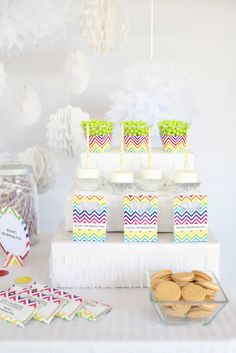 Candy at a Chevron Rainbow Birthday Party!  See more party ideas at CatchMyParty.com!