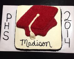 Red graduation cap sheet cake