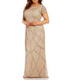 ea7a3194139 Adrianna Papell Plus Geo-Pattern Beaded Short Sleeve Scoop Back Gown